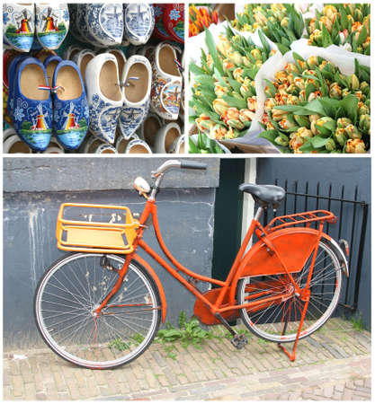 Collage of a bicycle, wooden shoes and tulips in Amsterdam