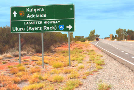 Road sign along the Lasseter Highway between Alice Springs and Ayers Rock  in the Australian Outback