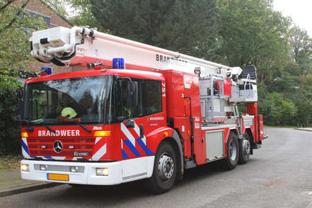 soest: Netherlands, 28 october 2013  A fire-engine is stand-by for assistance at fires and severe storms