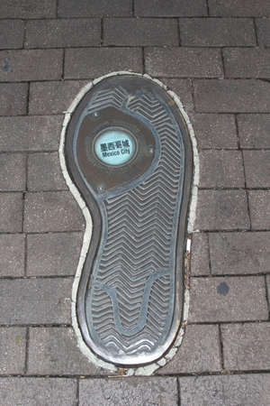Footprint of a globe-trotter who is traveling to Mexico City in Mexico photo