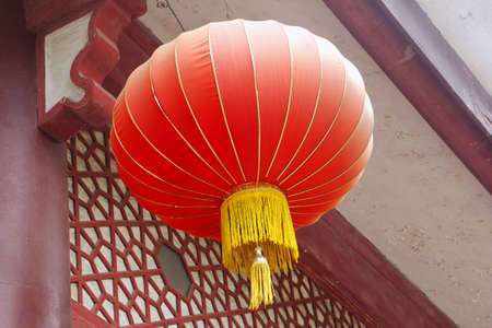 Red lantern in China symbolizes wealth, happiness and prosperity photo