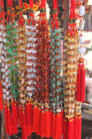 Beaded necklaces of jade from China photo