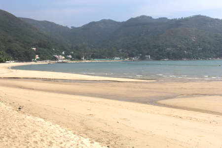 lantau: White sandy beach at Lantau Island in Hong Kong  Stock Photo