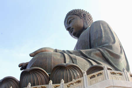 Giant Buddha statue in Po Lin monastery at Lantau in Hong Kong photo