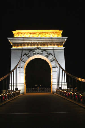 citytrip: Illuminatied bridge and night scene in Guilin in China Stock Photo