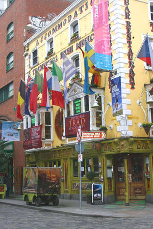 Pub with European flags in Temple Bar District in Dublin Ireland