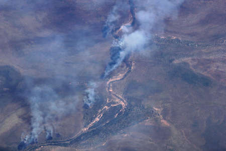 actuality: Aerial photograph of the bushfires in the Outback of Australia Stock Photo