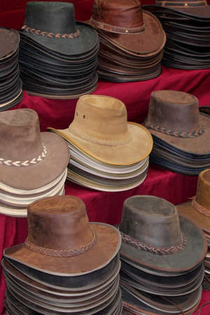 Original leather Australian hats made from kangaroo, crocodile and roo photo
