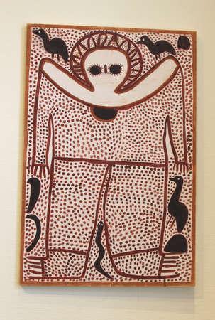 Utrecht, Netherlands, februari 2014 An Aboriginal artwork in the Museum of Contemporary Aboriginal Art in Utrecht Stock Photo - 25900726