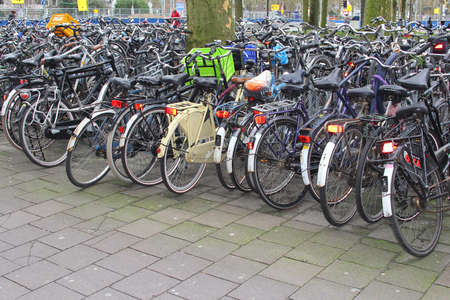 Utrecht, Netherlands, februari 2014 Students bikes are parked in the city centre of Utrecht