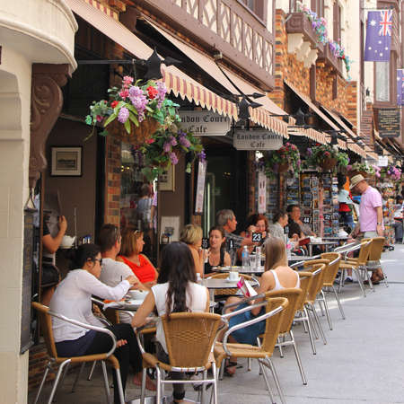 Perth, Australia, People at a terrace in the tourist attraction London Court between Hay Street and St Georges Terrace