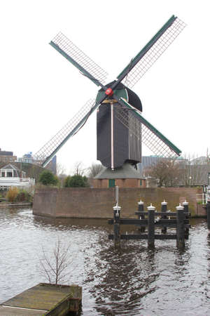 Leiden, Netherlands, march 2014 Windmill De Put in the historic city centre of Leiden