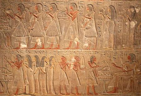 Very old Egyptian hieroglyphic art  photo