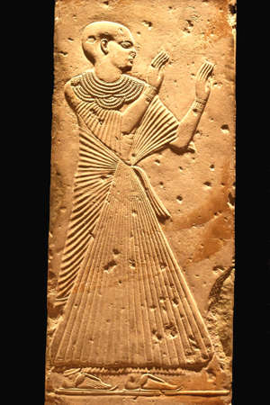 Very old hieroglyphic art from Egypt, isolated on a black background  photo