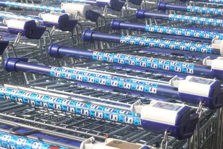 Supermarket carts of the Albert Heijn supermarket chain Editorial
