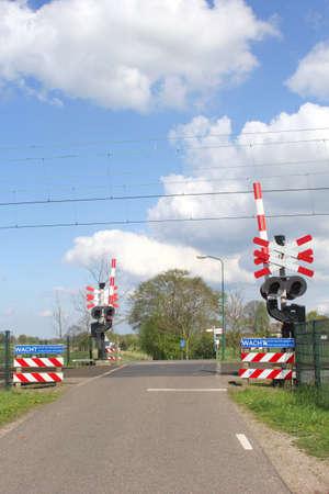 eempolder: Railway crossing in a Dutch polder, Netherlands