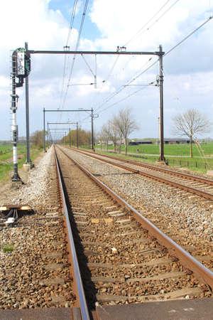 polder: Railways in a Dutch polder, Netherlands  Stock Photo