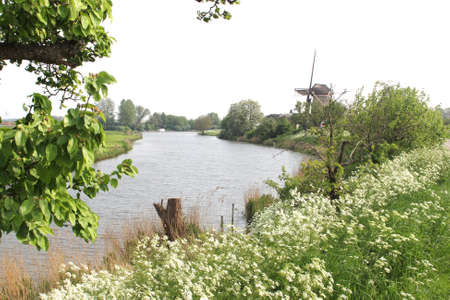 typically dutch: Dutch landscape with the Linge river and corn windmill The Freedom, Betuwe, Holland Stock Photo