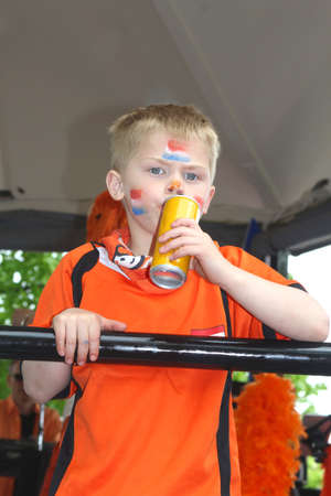 Netherlands, 2014 Young orange fan with orange t-shirt and Dutch flags painted on his face