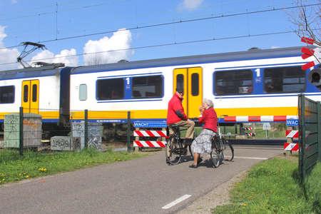 soest: Soest, Eempolder, Netherlands, april 2014 Public transport by Sprinter train in the Netherlands  Editorial