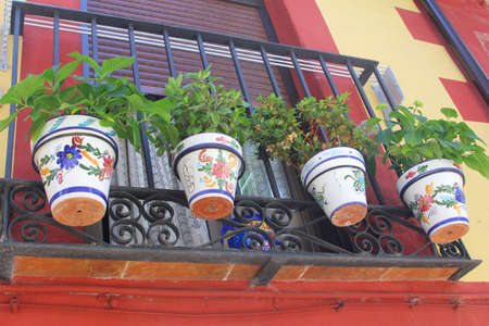 Colorful flowerpots at a balcony, La Mancha, Spain photo