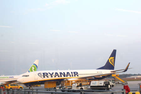 eindhoven: Eindhoven airport, Netherlands, june 2014 Airplane of Ryanair at the airport