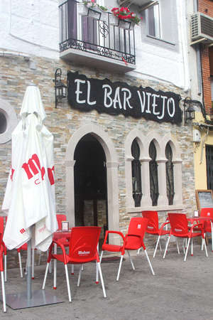 arenas: Arenas de San Pedro, Avila, Spain, june 2014 Traditional Spanish bar restaurant with terrace  Editorial
