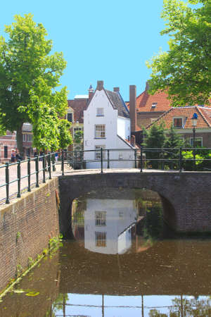 Amersfoort,Netherlands, june 2014 Canal, bridge and ancient buildings in the historic mediavel town of Amersfoort