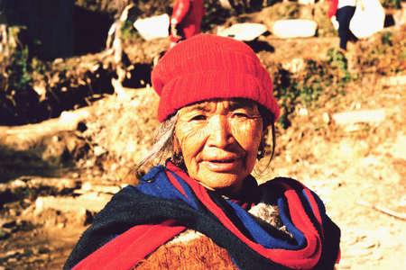 pokhara: Pokhara,Nepal Potrait of an old Nepalese women in the mountains around Pokhara Editorial