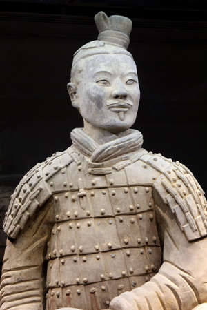 Xian, province Shaanxi, China, november 2014  Ancient terracotta warrior about 2000 years old in closeup in the museum of Xian