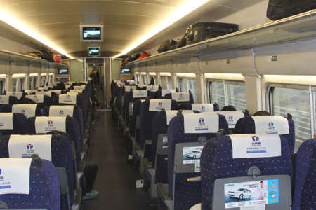 Xian, China, november 2014 Interior of a high-speed rail (HSR) train in China