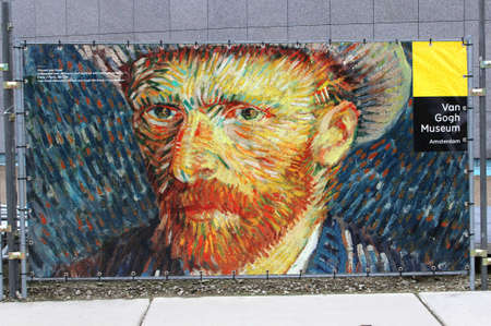 Amsterdam, Netherlands, december 2014 Self-portrait of Vincent van Gogh near the entrance of the van Gogh museum at the Museum Square