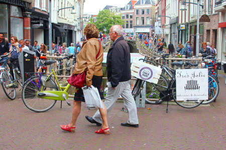 leeuwarden: Leeuwarden,Friesland,Netherlands,may 2014 People are shopping at Het Naauw in the city centre of Leeuwarden. In 2018 Leeuwarden will be the Cultural Capital of Europe Editorial