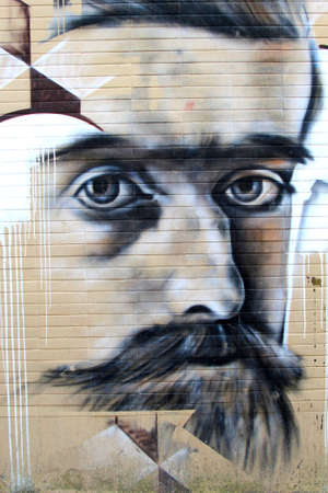 typically dutch: Leeuwarden, Friesland, Netherlands, may 2014 Urban street art, face of a man. In 2018 Leeuwarden will be the Cultural Capital of Europe