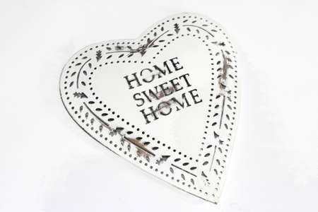 Vintage retro heart, Home Sweet Home, isolated on white photo