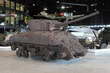 soest: Soesterberg, Netherlands, 2015  Retro rusty Military tank with bullet holes in the National Military Museum