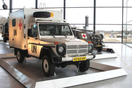soest: Soesterberg, Netherlands, 2015  Red Cross ambulance from the United Nations (UN) in the National Military Museum Editorial