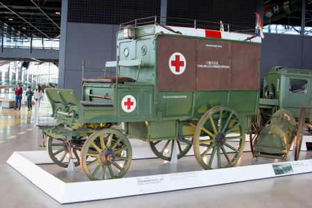 soest: Soesterberg, Netherlands, 2015  Military Red Cross ambulances from the First World War in the National Military Museum Editorial