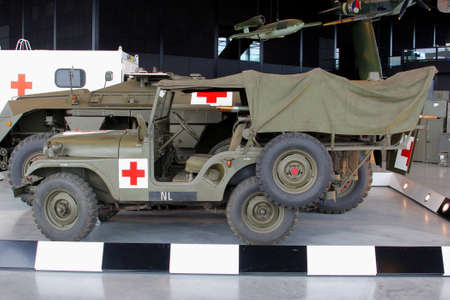 soest: Soesterberg, Netherlands, 2015 Old military Red Cross ambulance jeeps in the National Military Museum Editorial