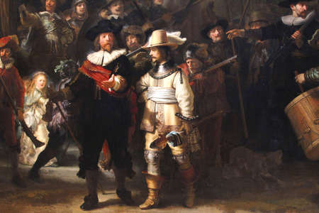 rembrandt: Amsterdam, Netherlands, 2015 Details of the Nachtwacht (Night Watch) of Rembrandt in the Rijksmuseum
