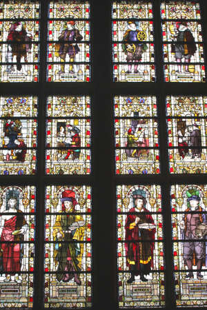 frans: Amsterdam, Netherlands, 2015 Indoor stained glass windows in the Rijksmuseum in Amsterdam