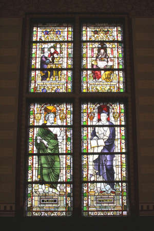 frans: Amsterdam, Netherlands, 2015 Stained glass windows in the interior of the Rijksmuseum Editorial