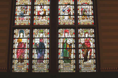 frans: Amsterdam, Netherlands, 2015 Anient stained glass windows in the Rijksmuseum