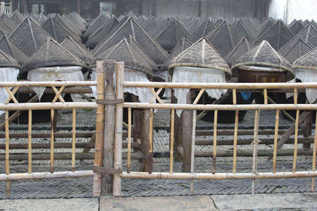 fishery: Bamboo baskets for the fishery in the water town of Wuzhen China