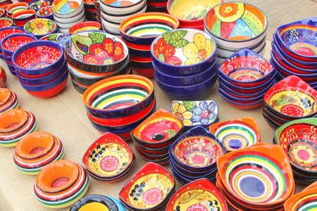Colourful pottery at the market at Sineu Mallorca Spain