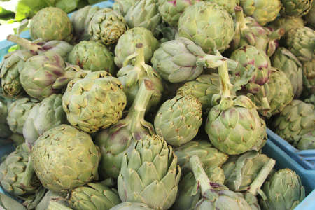 greengrocery: Artichokes at the greengrocery in Spain