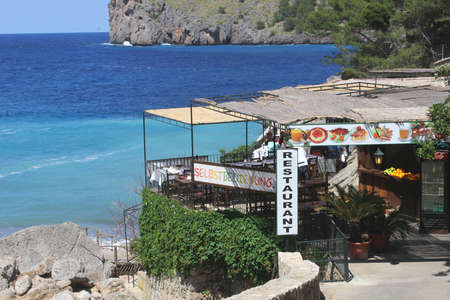 seaview: Cala Sa Calobra Majorca Spain May 2015 Restaurant with seaview along the sea