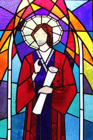 ルーク: Saint Luke, San Lucas, in a stained glass window
