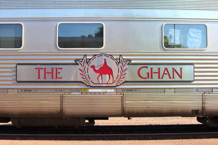 long distance: Darwin, Australia, in 2013 Logo of The Ghan long distance train-which connects Darwin, Alice Springs and Adelaide Editorial