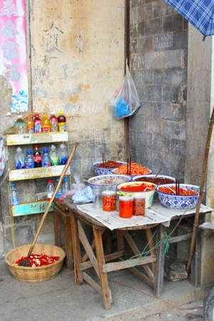 gastronome: Rustic outdoor kitchen in a courtyard in China Stock Photo